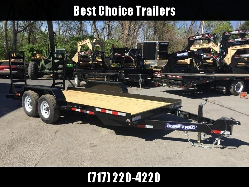 2018 Sure-Trac 7'x16' Skidsteer Equipment Trailer 9900# LOW LOAD ANGLE * CLEARANCE - FREE ALUMINUM WHEELS
