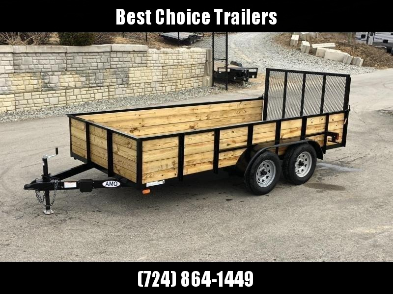 "2019 AMO 76""x16' Wood High Side Angle Iron Utility Landscape Trailer 7000# GVW * LED TAIL LIGHTS"