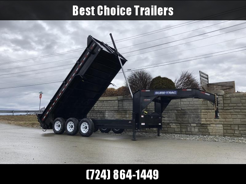 2019 Sure-Trac 7x16' 21000# Low Profile HD GOOSENECK Dump Trailer * TELESCOPIC HOIST * TRIPLE AXLE