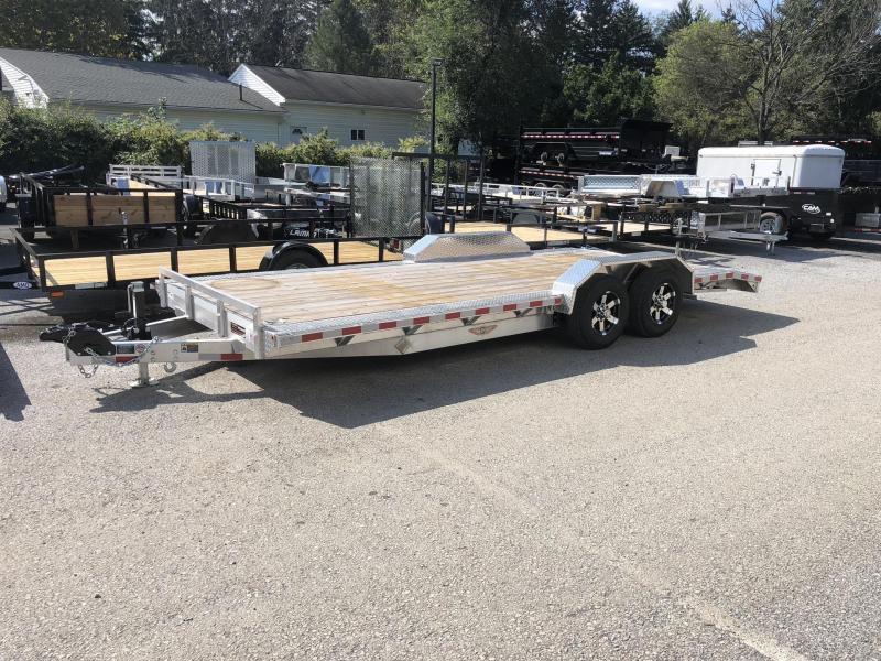 "2018 H&H 102""x20' 9990# Low Profile Aluminum Car Hauler * BUGGY HAULER * HEAVY DUTY * TORSION DROP AXLES * 8"" FRAME * SWIVEL D-RINGS * EXTRUDED BEAVERTAIL * 102"" DECK EXTENSION * DRIVER OVER FENDERS"
