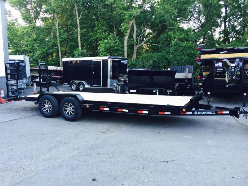 2018 Ironbull 7X20' Equipment Trailer 14000# GVW Stand Up Ramps * CLEARANCE - FREE ALUMINUM WHEELS