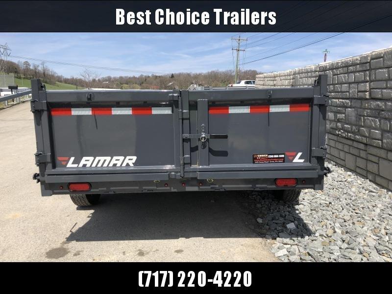 "2019 Lamar 7x12' Dump Trailer 14000# GVW * 14-PLY RUBBER * OIL BATH * REAR JACKSTANDS * 12"" O.C. * TARP * RAMPS * SPARE MOUNT * 12K JACK * CHARCOAL WITH BLACK WHEELS"