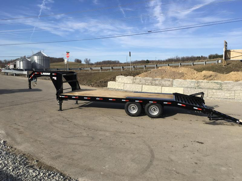 2018 Lamar 102x18+4' Gooseneck Beavertail Deckover Trailer 14000# STAND UP RAMPS * CLEARANCE - FREE ALUMINUM WHEELS