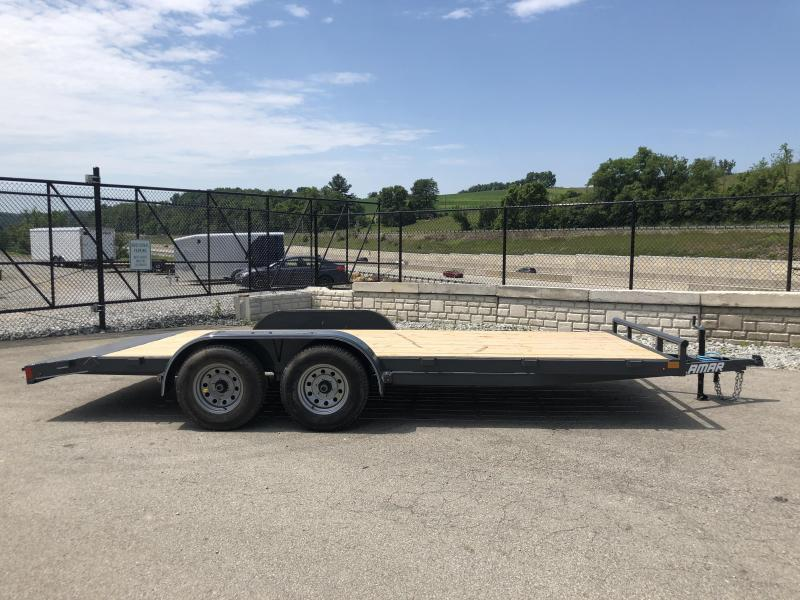 2018 Lamar 7x18 7000# Wood Deck Car Hauler Trailer * REMOVABLE FENDERS * EXTRA STAKE POCKETS * CHARCOAL * CLEARANCE - FREE SPARE TIRE