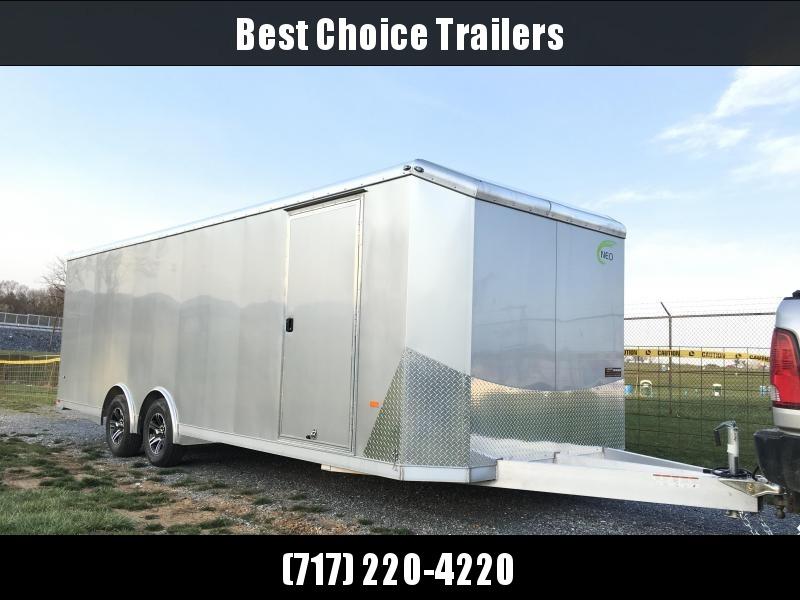 2019 NEO Trailers NACX2485R Liberator Enclosed Car Trailer 9990# GVW SILVER * FULL ESCAPE DOOR * EXTRUDED ALUMINUM FLOOR/RAMP * 5200# TORSION * BULLNOSE * SPREAD AXLE * DRT REAR SPOILER * NXP RAMP