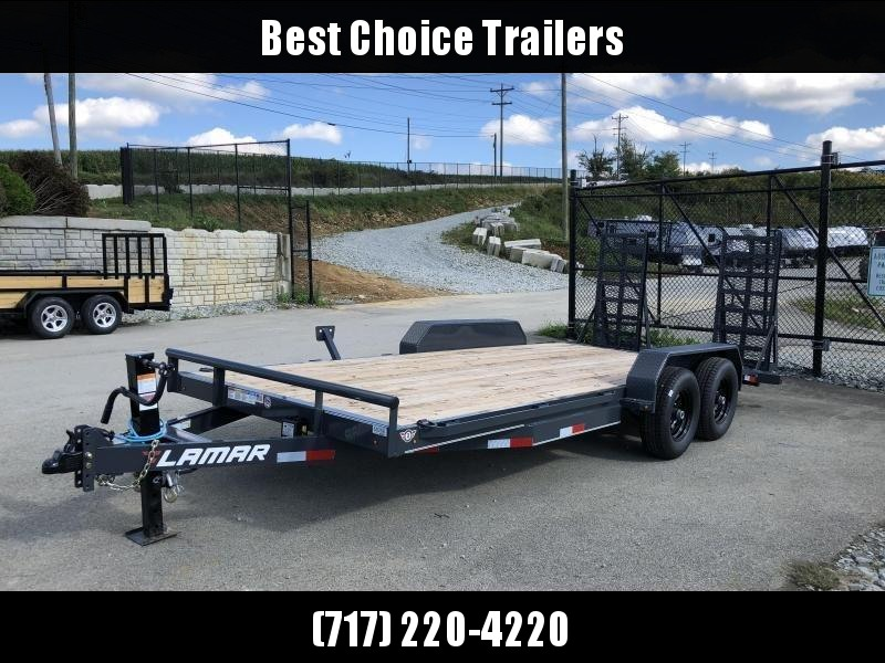 2019 Lamar 7x18' CC10 Equipment Trailer 9990# GVW - CHARCOAL * DELUXE RAMPS * 12K DROPLEG JACK