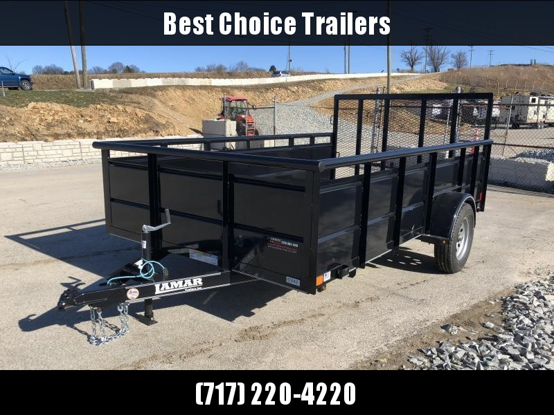 "2019 Lamar 77""x12' Steel High Side Utility Trailer 2990# GVW * PIPE TOP * 2' SOLID SIDES * DROP LEG JACK * CAST COUPLER * TUBE GATE"