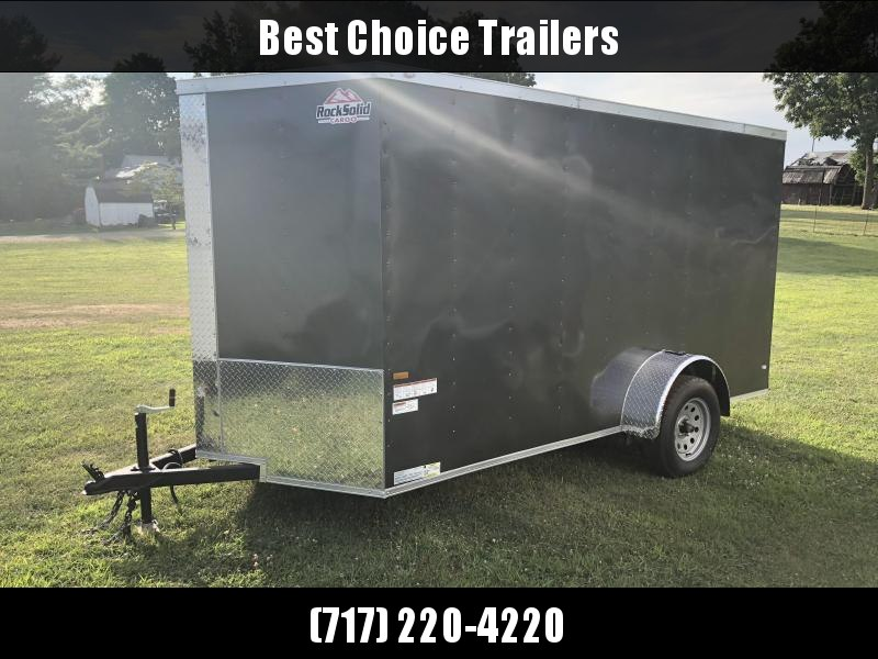 2018 Rock Solid 6x12' Enclosed Cargo Trailer 2990# GVW * CHARCOAL * RAMP * VNOSE