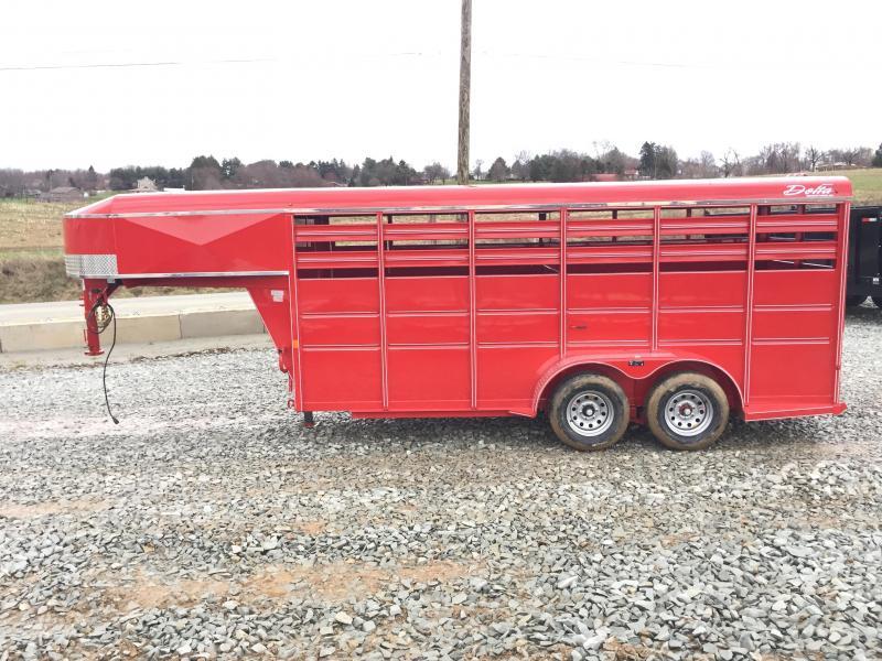 2018 Delta Gooseneck 500 ES 16' Livestock Trailer 7000# GVW * RED