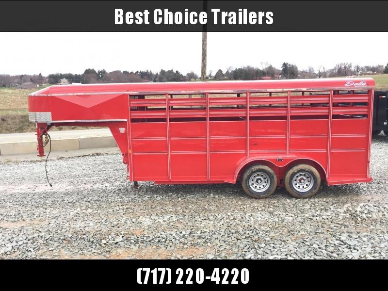2018 Delta Gooseneck 500 ES 16' Livestock Trailer 7000# GVW * RED * CLEARANCE - FREE ALUMINUM WHEELS in Ashburn, VA