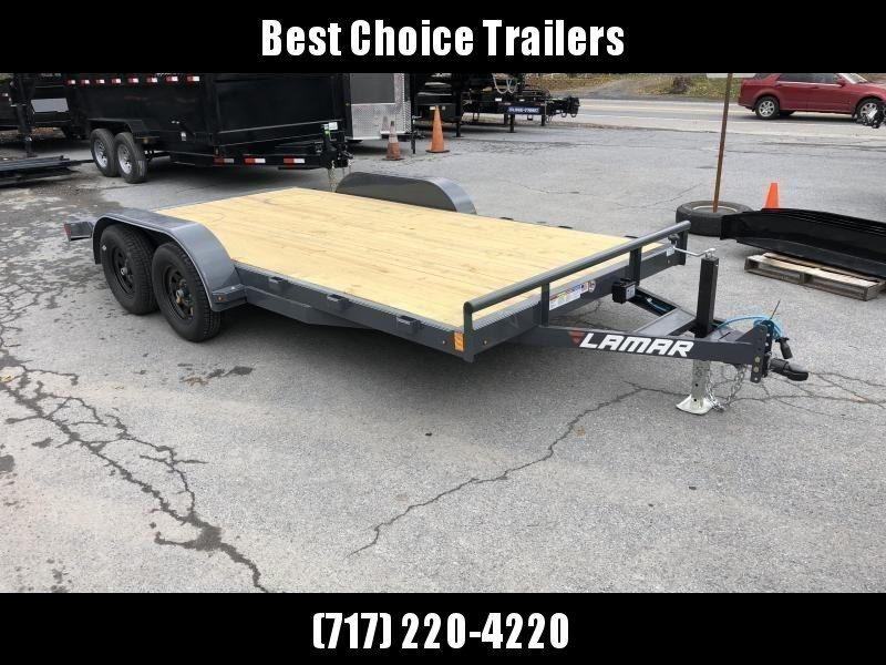 2019 Lamar 7x18 7000# Wood Deck Car Hauler Trailer * ADJUSTABLE COUPLER * DROP LEG JACK * REMOVABLE FENDERS * EXTRA STAKE POCKETS * CHARCOAL