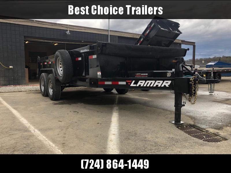 USED 2018 Lamar 7x16' Dump Trailer 14000# GVW * TARP KIT * 2-SPEED JACK * 7GA FLOOR * SPARE TIRE & MOUNT