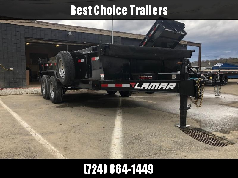 USED 2018 Lamar 7x16' Dump Trailer 14000# GVW * TARP KIT * 2-SPEED JACK * 7GA FLOOR * SPARE TIRE & MOUNT