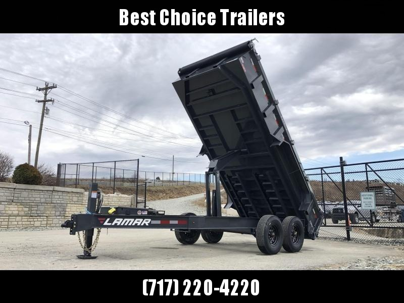"2019 Lamar 7x16' Dump Trailer 14000# GVW DELUXE * HYDRAULIC JACK * DELUXE TARP * 7 GAUGE * OIL BATH * 12"" O.C. * SCISSOR * 14-PLY RUBBER * REAR SUPPORT STANDS * CHARCOAL"
