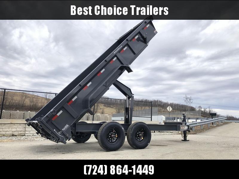 "2019 Lamar 7x16' Dump Trailer 14000# GVW DELUXE * HYDRAULIC JACK * DELUXE TARP * 7 GAUGE * OIL BATH * 12"" O.C. * SCISSOR * 14-PLY RUBBER * REAR SUPPORT STANDS * CHARCOAL"