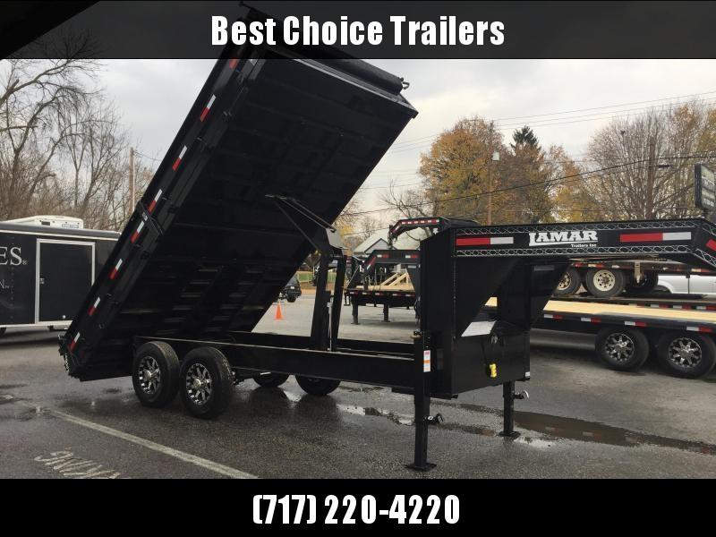 2018 Lamar 8x16' Gooseneck Deckover Dump Trailer 14000# GVW - FOLD DOWN SIDES