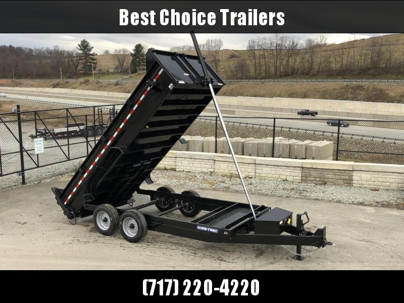 2019 Sure-Trac 7x16' LowPro HD Dump Trailer 16000# GVW * 8K AXLE UPGRADE * TELESCOPIC HOIST