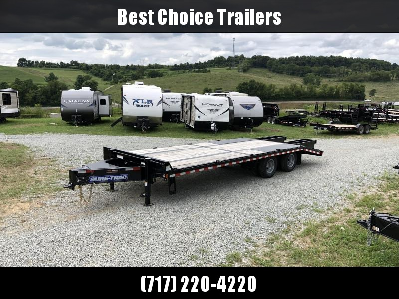 2018 Sure-Trac 102x20+5 22K Pintle Beavertail Deckover Trailer Pierced Frame OAK DECK & RAMPS PAVER TRAILER * HUTCH SUSPENSION * 12 D-RINGS * TOOLBOX * OAK RAMPS/TAIL/DECK * 2ND JACK * CLEARANCE PRICED