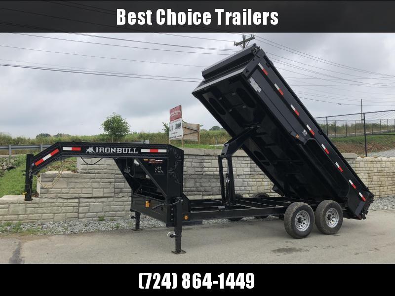 2018 Iron Bull 7x16' Gooseneck Dump Trailer 14000# GVW * TARP KIT * SCISSOR * CLEARANCE - FREE ALUMINUM WHEELS