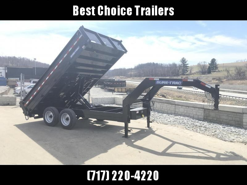 2018 Sure-Trac 8x14' HD Gooseneck Deckover Dump Trailer 14000# GVW - FOLD DOWN SIDES * CLEARANCE