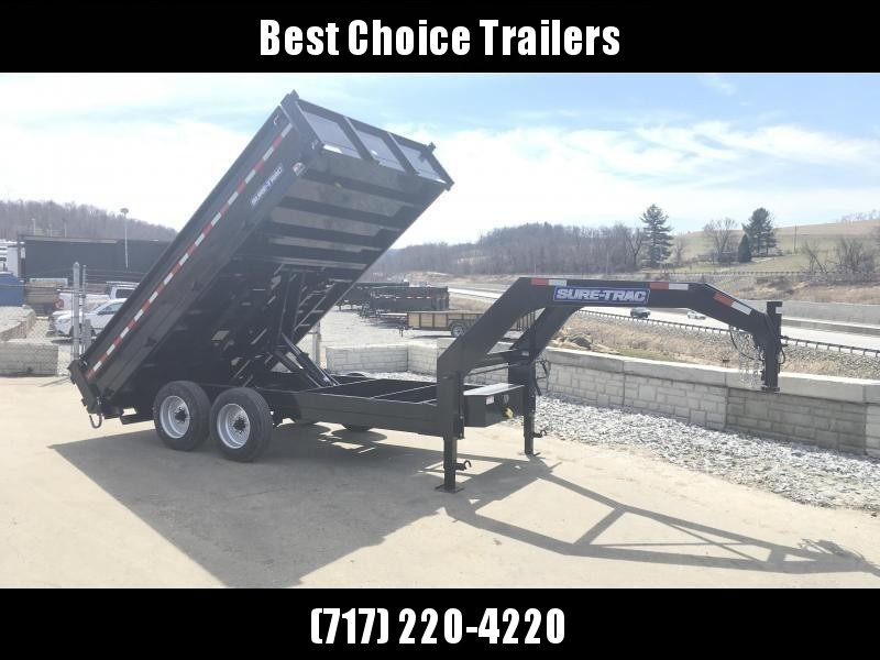 2018 Sure-Trac 8x14' HD Gooseneck Deckover Dump Trailer 14000# GVW - FOLD DOWN SIDES * CLEARANCE