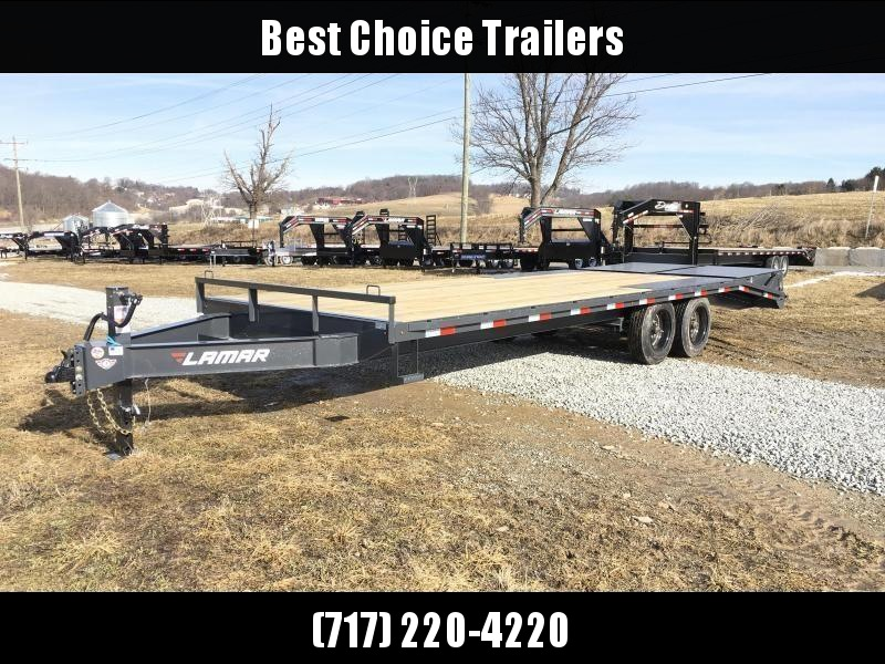 2018 Lamar F8 102x24' Beavertail Deckover Trailer 14000# GVW FULL WIDTH RAMPS * TOOLBOX * CHARCOAL *  2 SPEED JACK