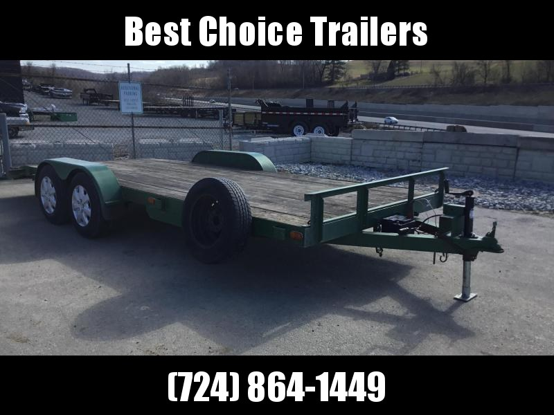 USED 1995 Noncom 7x18' Wood Deck Car Trailer 10000# GVW