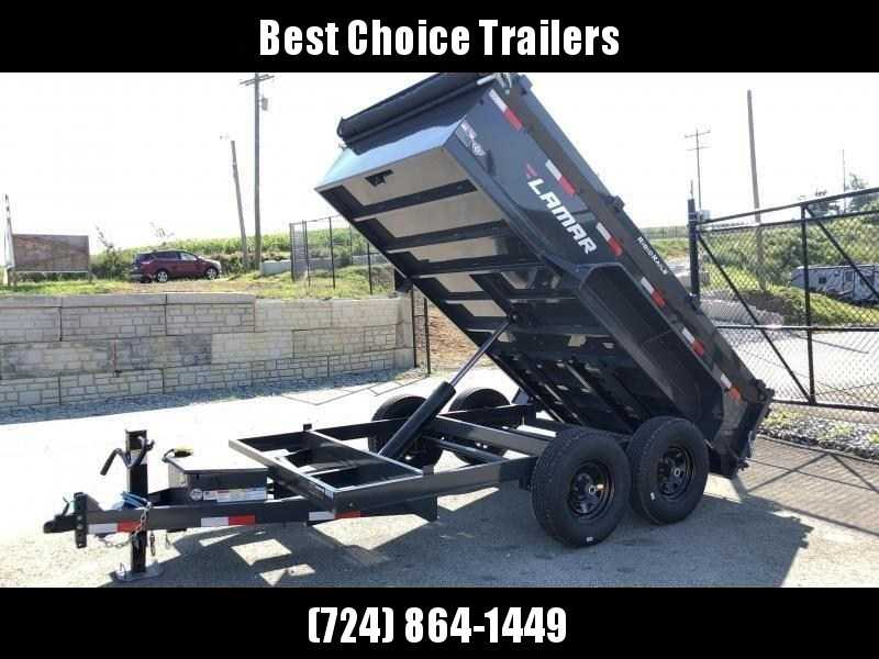 "2019 Lamar DM 77x12' 9990# Low Profile Dump Trailer * 12K JACK * TARP KIT * ADJUSTABLE COUPLER * CHARCOAL * SPREADER GATE * 2' SIDES * 16"" RUBBER"
