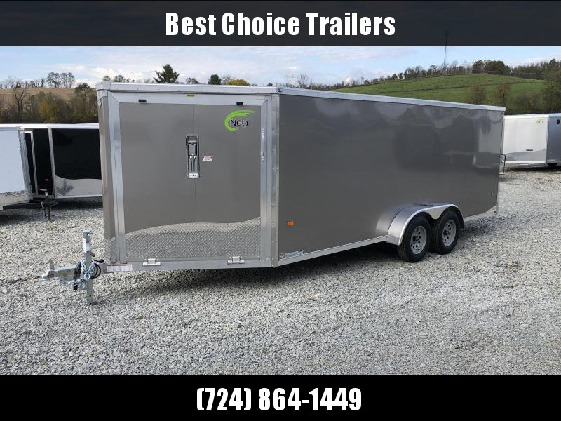 """2019 Neo 7x22' Aluminum Enclosed Snowmobile All-Sport Trailer * 3-SLED * PEWTER * FRONT RAMP * NXP LATCHES * FLOOR TIE DOWN SYSTEM * REAR JACKSTANDS * UPGRADED 16"""" OC FLOOR * UPPER CABINET"""
