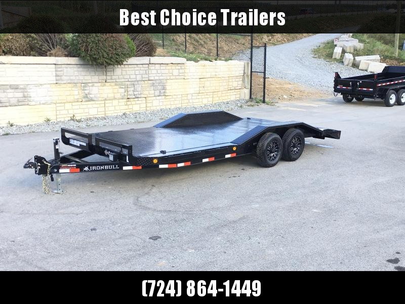 "2019 Iron Bull 102""x20' Steel Deck Car Trailer 9990# GVW * 102"" DECK * DRIVE OVER FENDERS * BUGGY HAULER * STEEL DECK * HD FRAME * BLACK(ED) OUT FRIDAY SPECIAL - FREE ALUMINUM WHEELS"
