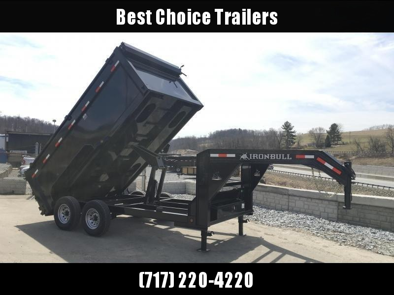 2018 Iron Bull 7x16' Gooseneck Dump Trailer 14000# GVW - 4' HIGH SIDES * CLEARANCE - FREE ALUMNIUM WHEELS