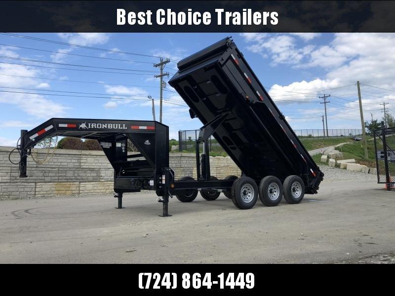 2019 Iron Bull 7x16' Gooseneck Dump Trailer 21000# GVW * TARP KIT * SCISSOR * REAR JACK STANDS