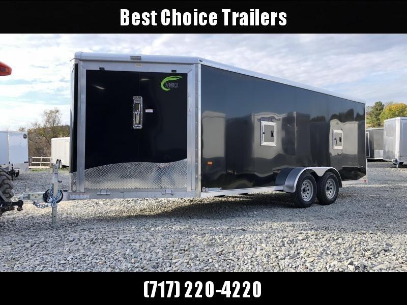 2019 Neo 7x22' Aluminum Enclosed Snowmobile All-Sport Trailer * LOADED MODEL * 3-SLED * BLACK