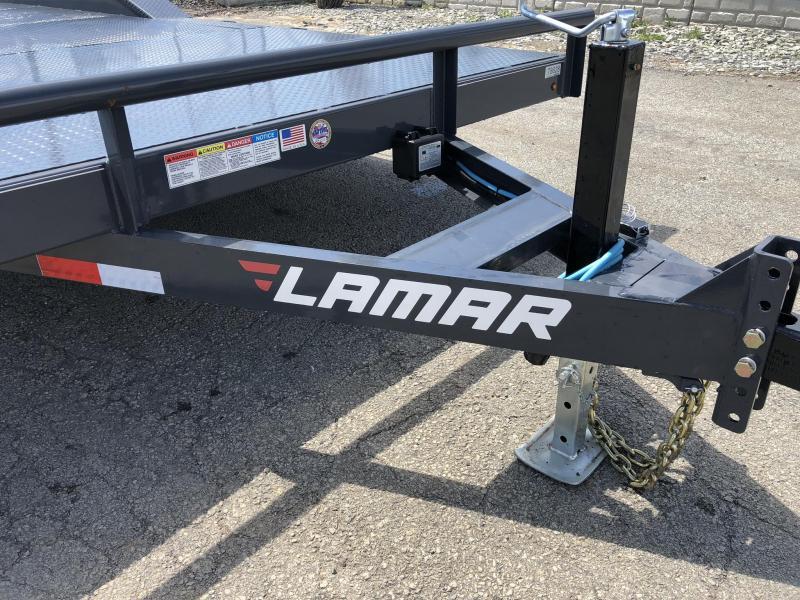 "2019 Lamar 102x22' CC10 Car Trailer 9990# GVW * 102"" DECK * DRIVE OVER FENDERS * STEEL DECK * CHARCOAL POWDERCOATING * 7K DROP LEG JACK"
