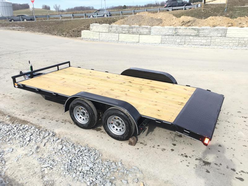 2018 Lamar 7x16 7000# Wood Deck Car Hauler Trailer * REMOVABLE FENDERS * EXTRA STAKE POCKETS