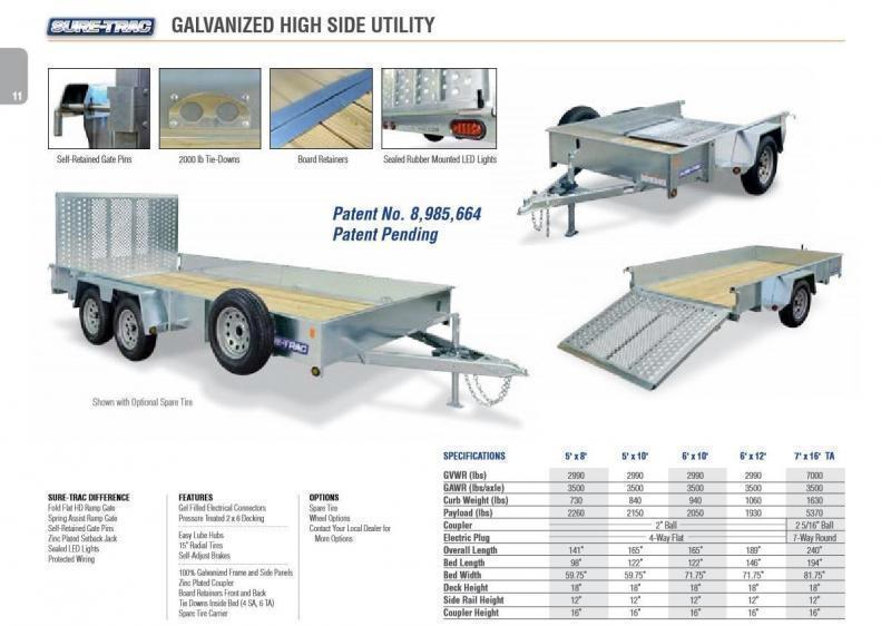 2018 Sure-Trac 6x12' Galvanized High Side Utility Trailer 2990# GVW * CLEARANCE - FREE ALUMNIUM WHEELS