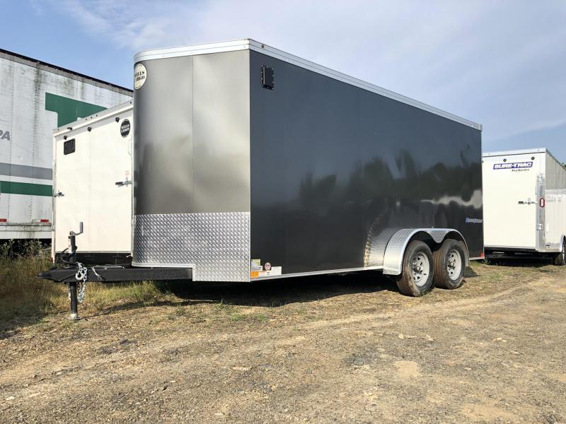 """2019 Wells Cargo 7x16' Road Force Enclosed Cargo Trailer 7000# GVW * CHARCOAL * RAMP DOOR * V-NOSE * .030 * 1 PC ALUM ROOF * 6'6"""" HEIGHT * TUBE STUDS * SCREWLESS * ARMOR GUARD"""