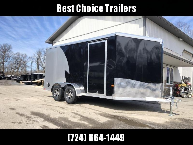 "2020 Neo 7x14 NAMR Aluminum Enclosed Motorcycle Trailer * VINYL WALLS * ALUMINUM WHEELS * +6"" HEIGHT * NUDO FLOOR & RAMP * BLACK & SILVER"