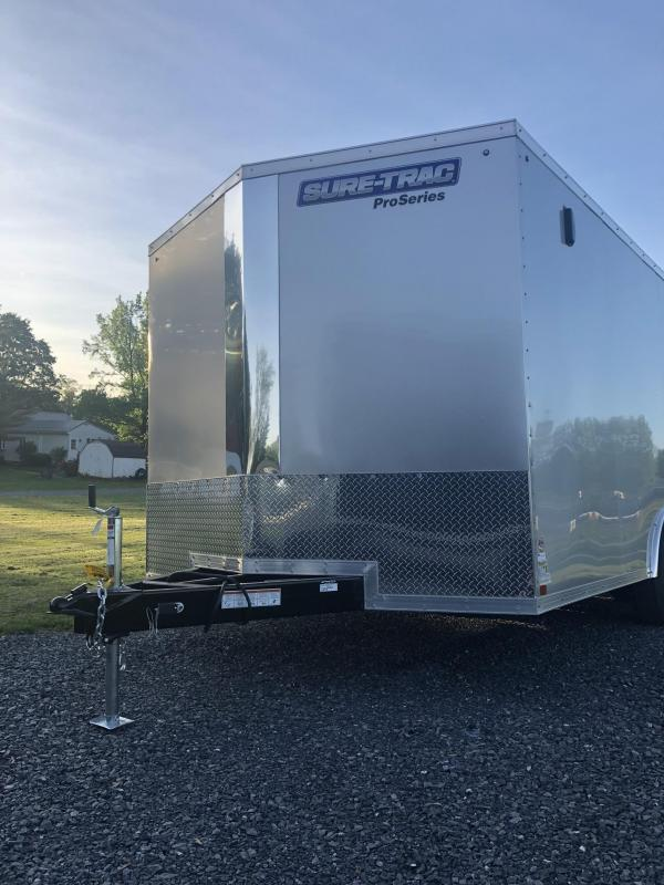 2019 Sure-Trac 8.5x16' Enclosed Cargo Trailer 7000# GVW * SILVER