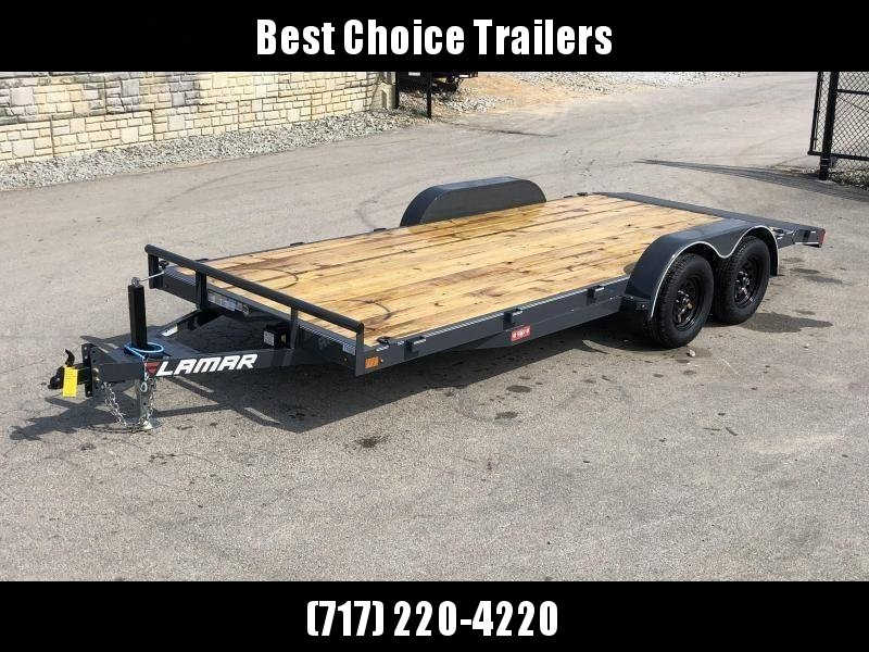 2019 Lamar 7x16 7000# Wood Deck Car Hauler Trailer * ADJUSTABLE COUPLER * DROP LEG JACK * REMOVABLE FENDERS * EXTRA STAKE POCKETS * CHARCOAL * 4 D-RINGS