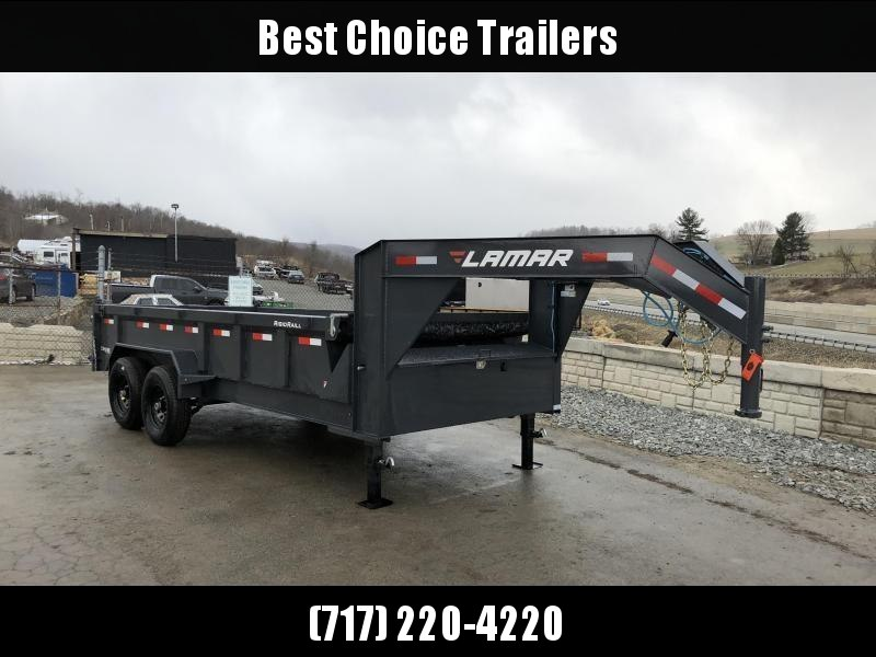 "2018 Lamar 7x16' Gooseneck Dump Trailer 16000# GVW * 8000# AXLE UPGRADE * 17.5"" RUBBER & SPARE * 7 GAUGE FLOOR * HD SCISSOR * TARP KIT * DUAL JACKS * I-BEAM FRAME * CHARCOAL * VOLTAGE METER * REAR JACK STANDS"