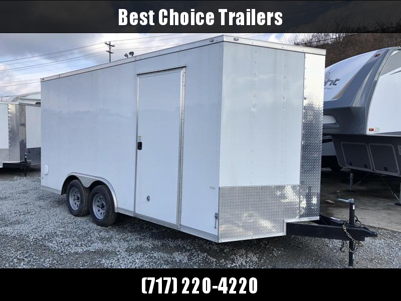 2019 Rock Solid 8x16' Enclosed Car Hauler Trailer 7000# GVW RS816TA * WHITE * ATP FENDERS * V-NOSE * RAMP DOOR