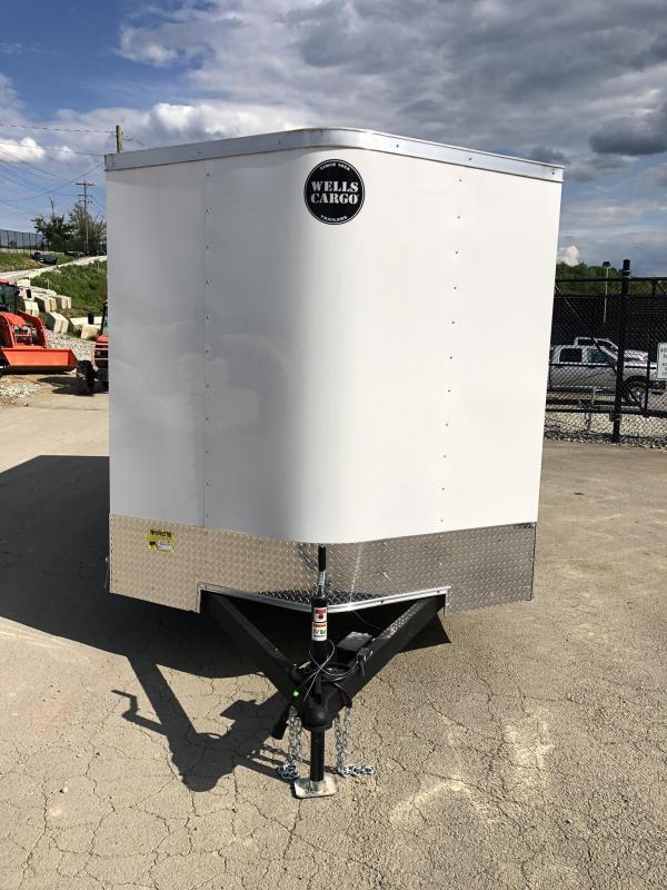 2019 Wells Cargo 7x14' Fastrac Enclosed Cargo Trailer 7000# GVW * WHITE * RAMP DOOR * V-NOSE