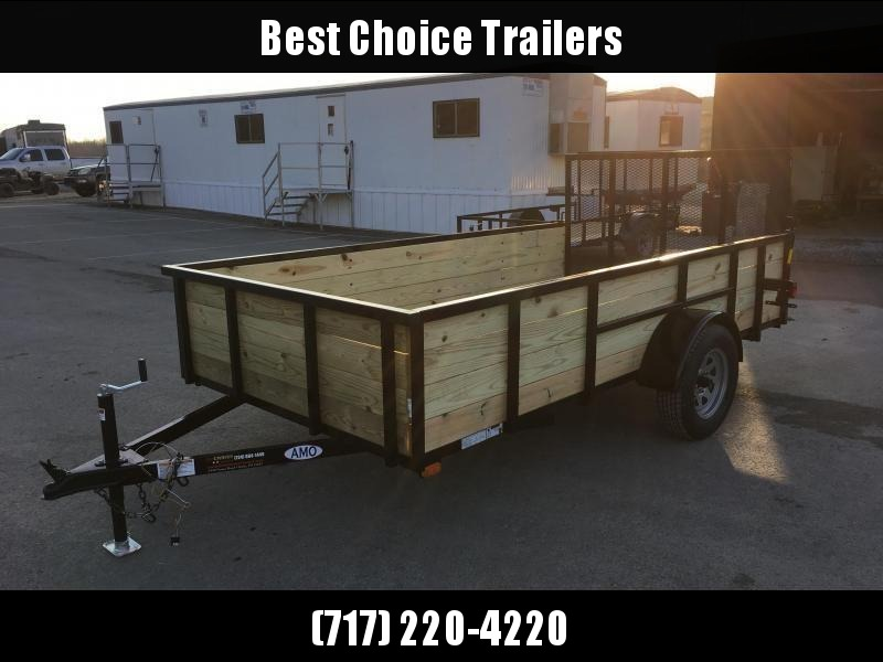 "2019 AMO 76""x12' Wood High Side Angle Iron Utility Landscape Trailer 2990# GVW"