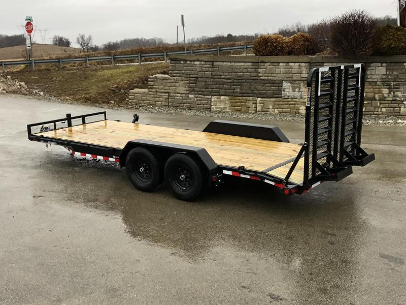2019 Load Trail 7x20' Car Hauler Trailer 9990# GVW * CH8320052 * 5' HD GATE * RUBRAIL * SPARE TIRE MOUNT * COLD WEATHER HARNESS * DEXTER'S * 2-3-2 * POWDER PRIMER