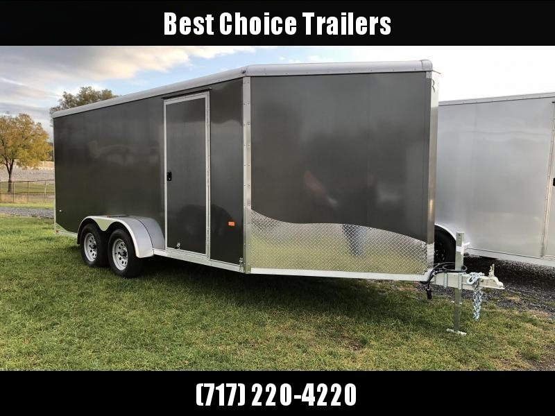 "2019 Neo 7x20' Aluminum Enclosed Snowmobile All-Sport Trailer * 2-SLED or 3-SLED * CHARCOAL * FRONT RAMP * NXP LATCHES * FLOOR TIE DOWN SYSTEM * REAR JACKSTANDS * UPGRADED 16"" OC FLOOR * UPPER CABINET"