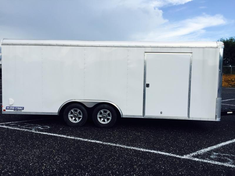 2019 Sure-Trac 8.5x24 Round Top Car Hauler 9900# GVW WHITE