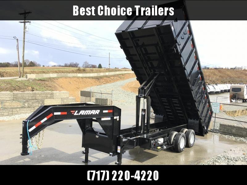 2018 Lamar 8x20' Gooseneck Deckover Dump Trailer 24000# GVW - 4' REMOVABLE SIDES