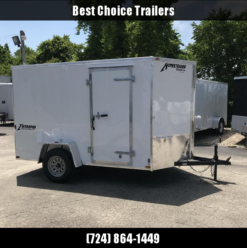 2018 Homesteader 6x10' Enclosed Cargo Trailer 2990# GVW 610IS * WHITE * V-NOSE * RAMP DOOR * D-RINGS * CLEARANCE - FREE ALUMINUM WHEELS