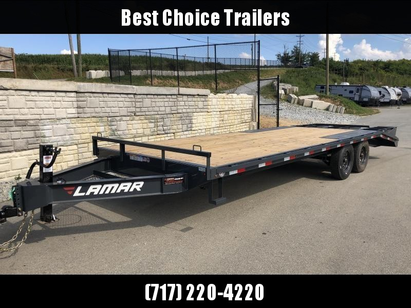 2019 Lamar F8 102x24' Beavertail Deckover Trailer 16000# GVW * 8K AXLES * 3 FLIPOVER RAMPS * OIL BATH * CHARCOAL * 14 PLY TIRES